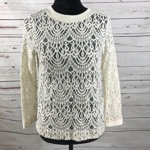 Banana Republic Lace Top Beige See Through Size S